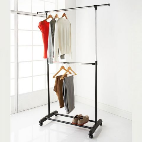 Height Adjustable & Extendable Double 2 Tier Hanging Clothes Garment Rail